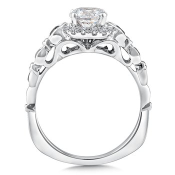 Diamond and Blue Sapphire Halo Engagement Ring Mounting in 14K White Gold (.12 ct. tw.)