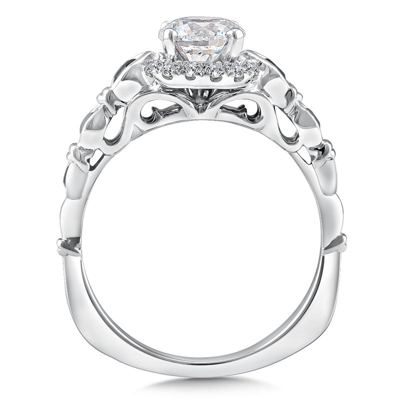 Valina Diamond and Blue Sapphire Halo Engagement Ring Mounting in 14K White Gold (.12 ct. tw.)