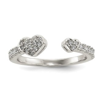 Sterling Silver Polished CZ Double Heart Adjustable Cuff Ring