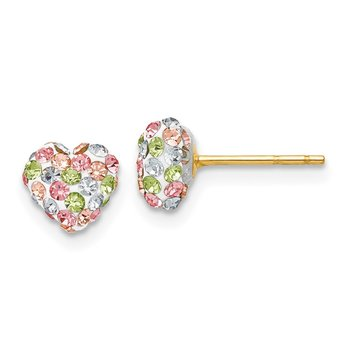 14k Pastel Multi-colored Crystal 6mm Heart Post Earrings