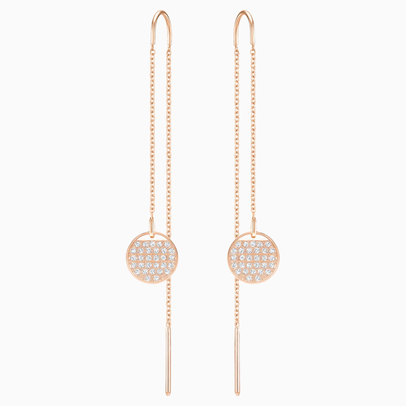 Swarovski Ginger Chain Pierced Earrings, White, Rose-gold tone plated