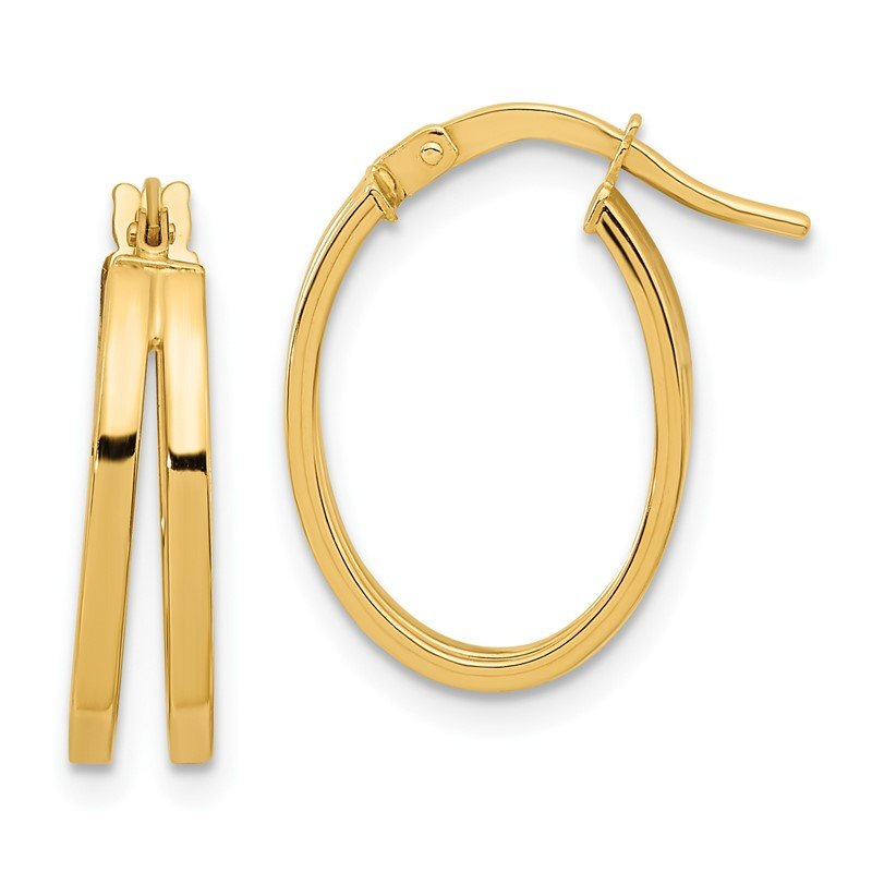 Quality Gold 14k Polished Double Hoops