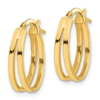 14k Polished Double Hoops