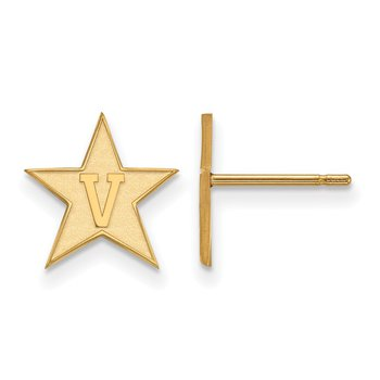 Gold-Plated Sterling Silver Vanderbilt University NCAA Earrings