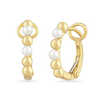 14K FRESH WATER PEARL HOOP EARRINGS