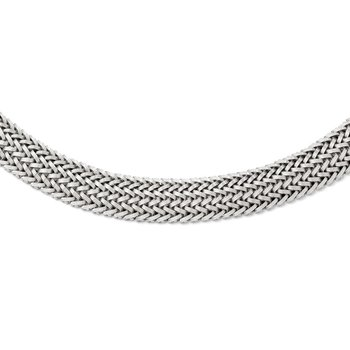Leslie's Sterling Silver Polished Mesh Braided Necklace