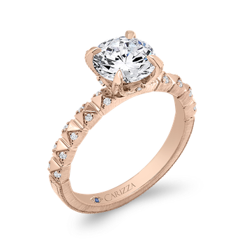 Round Cut Diamond Engagement Ring In 18K Rose Gold (Semi-Mount)
