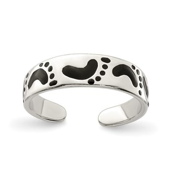 Sterling Silver Black Enameled Feet Toe Ring