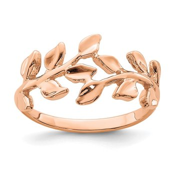 14K Rose Polished Leaf Ring