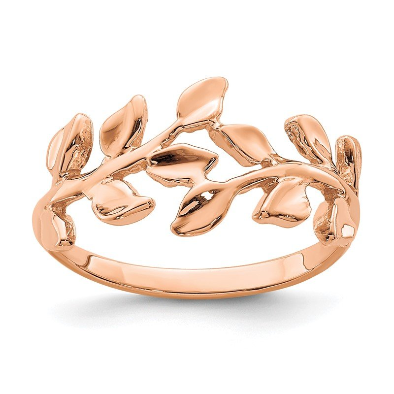 Quality Gold 14K Rose Polished Leaf Ring