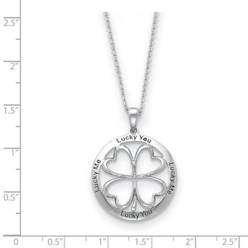 Sterling Silver CZ Antiqued Lucky Me, Lucky You 18in Necklace