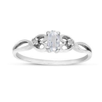 10k White Gold Oval White Topaz And Diamond Ring