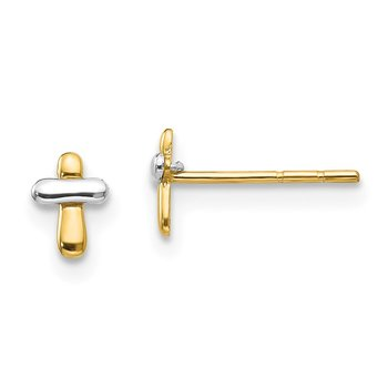 14K Two-tone Madi K Polished Cross Post Earrings