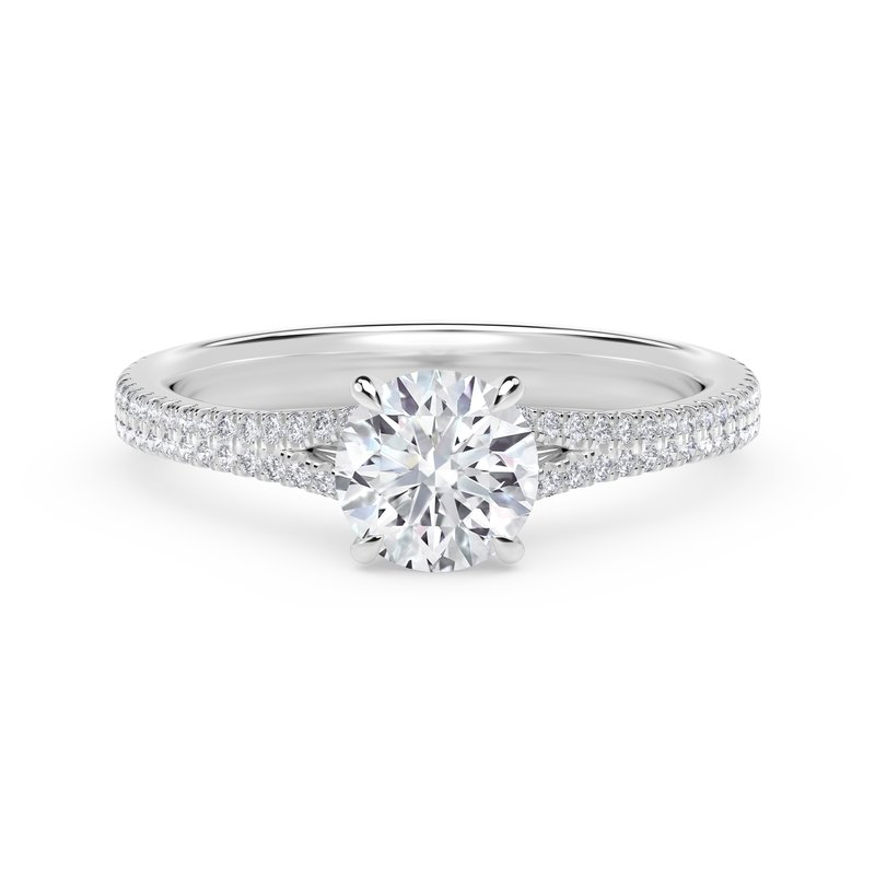 Forevermark Engagement and Commitment Forevermark Icon™ Setting Round Engagement Ring with Two Row Pave Band