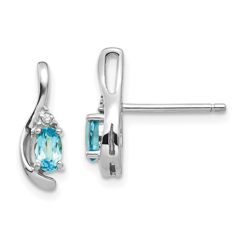 Quality Gold 14k White Gold Blue Topaz and Diamond Post Earrings