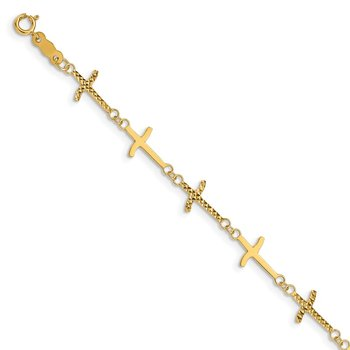 14k Polished Diamond-cut Crosses w/1in. Ext. Bracelet