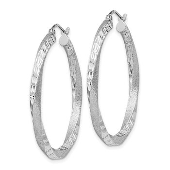 Sterling Silver RH-plated Satin D/C Twisted 3x35mm Hoop Earrings
