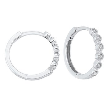 14K White Gold Mixable Bezel Diamond Earrings 1/7CT