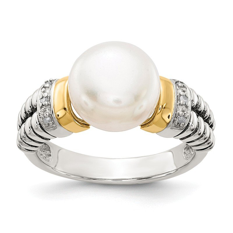 Shey Couture Sterling Silver w/14k Diamond & FW Cultured Pearl Ring