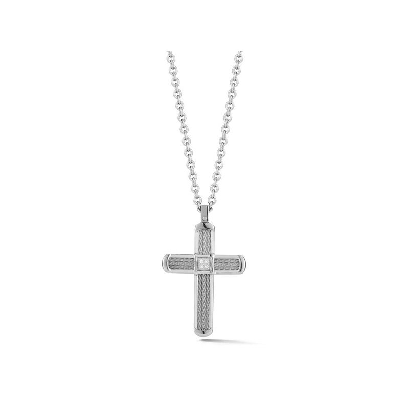 ALOR Grey Cable Cross Necklace on Grey Chain with 18kt Yellow Gold & Diamonds