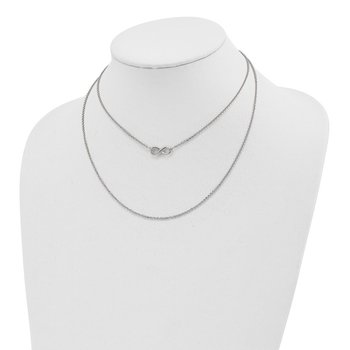 Sterling Silver Polished Infinity 2 Layer w/4 in ext Choker