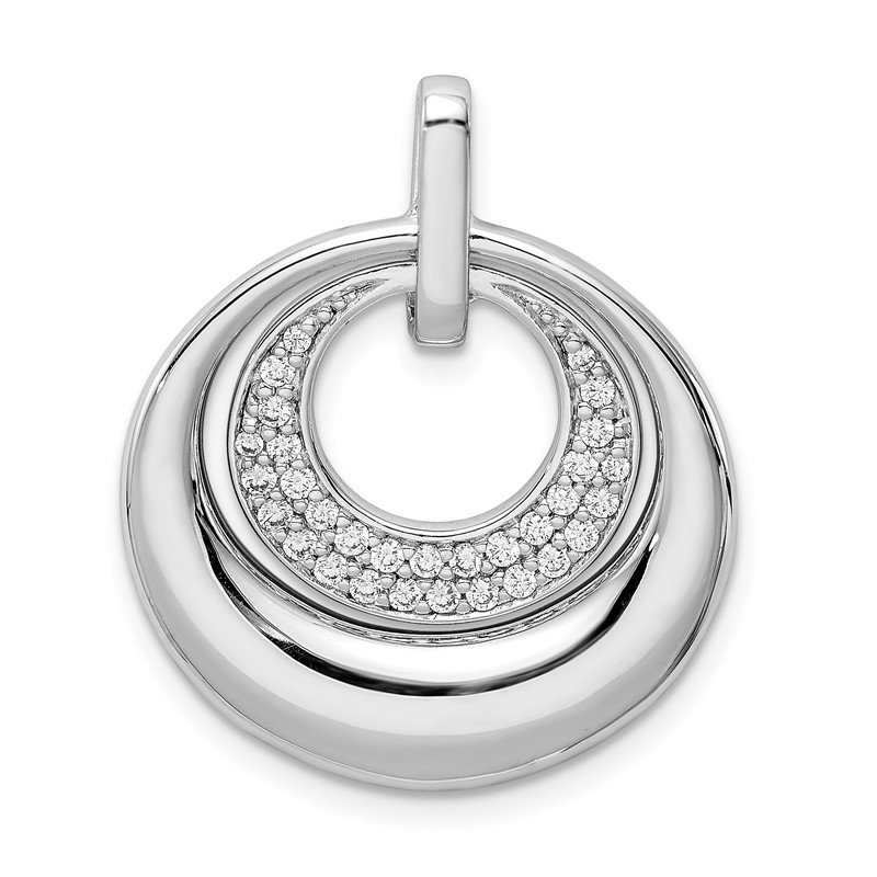 Quality Gold Sterling Silver Rhodium Plated CZ Pendant
