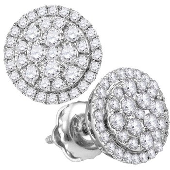 14kt White Gold Womens Round Diamond Circle Cluster Earrings 1/2 Cttw