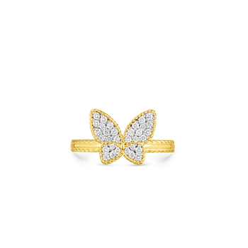 18Kt Gold Small Butterfly Ring With Diamonds