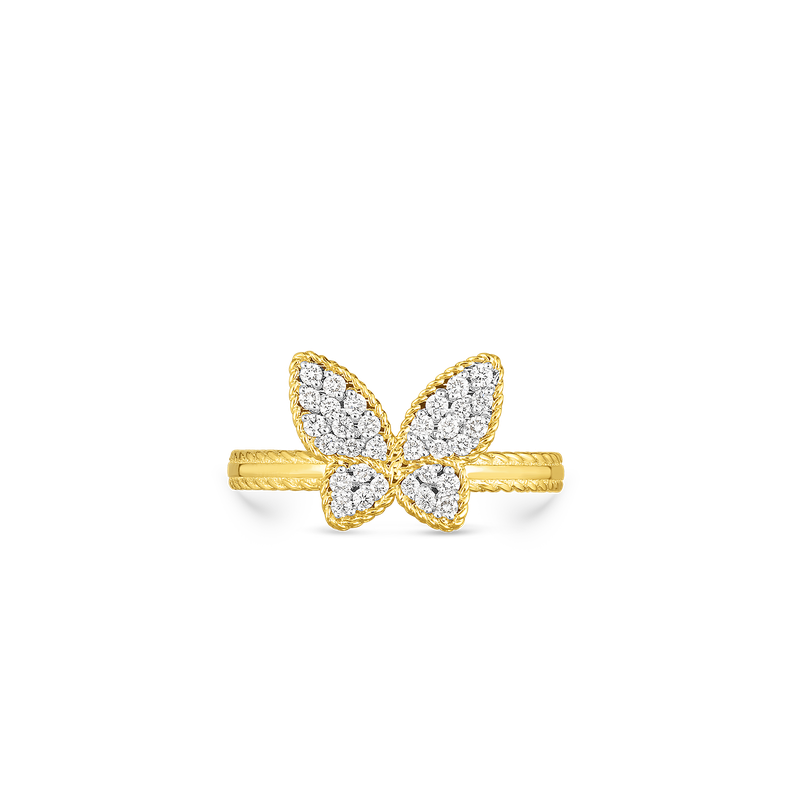 Roberto Coin 18Kt Gold Small Butterfly Ring With Diamonds