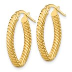 Quality Gold 14K Small 3mm Textured Oval Hoop Earrings