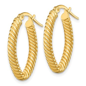 14K Small 3mm Textured Oval Hoop Earrings