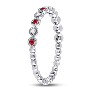 10kt White Gold Womens Round Ruby Diamond Beaded Dot Stackable Band Ring 1/6 Cttw