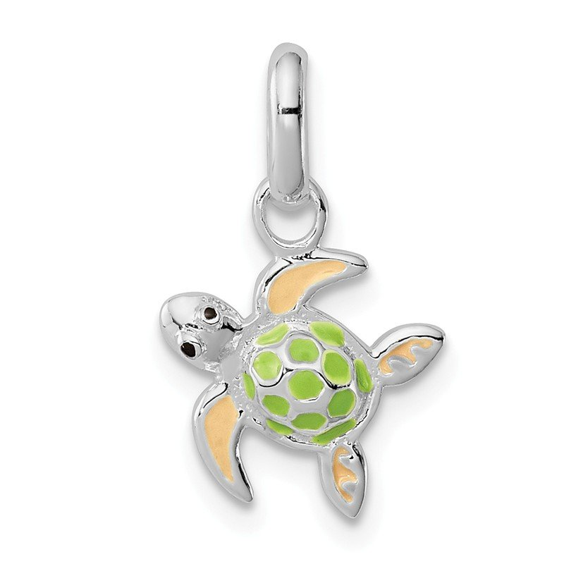 Quality Gold Sterling Silver Children's Enameled Sea Turtle Pendant