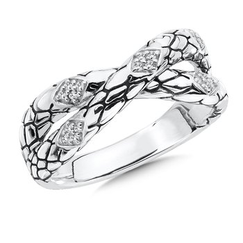 Sterling Silver Sterling Silver White Diamond Serpentine Ring