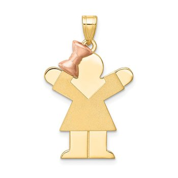 14k Two-Tone Large Girl w/Bow on Left Engravable Charm