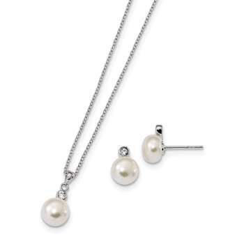 Sterling Silver Rhodium-plated 8-9mm FWC Pearl CZ Earring/Necklace Set