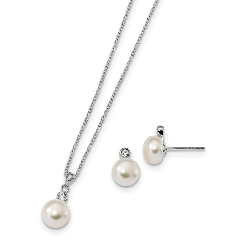 Quality Gold Sterling Silver RH 8-9mm FWC Pearl CZ Earring and Necklace Set