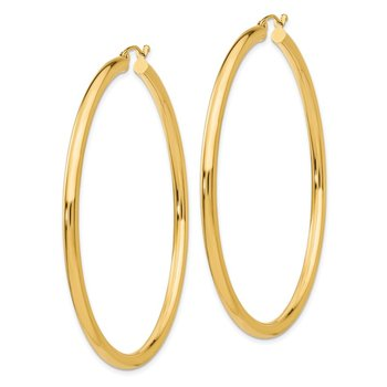 14K Polished 3mm Lightweight Tube Hoop Earrings