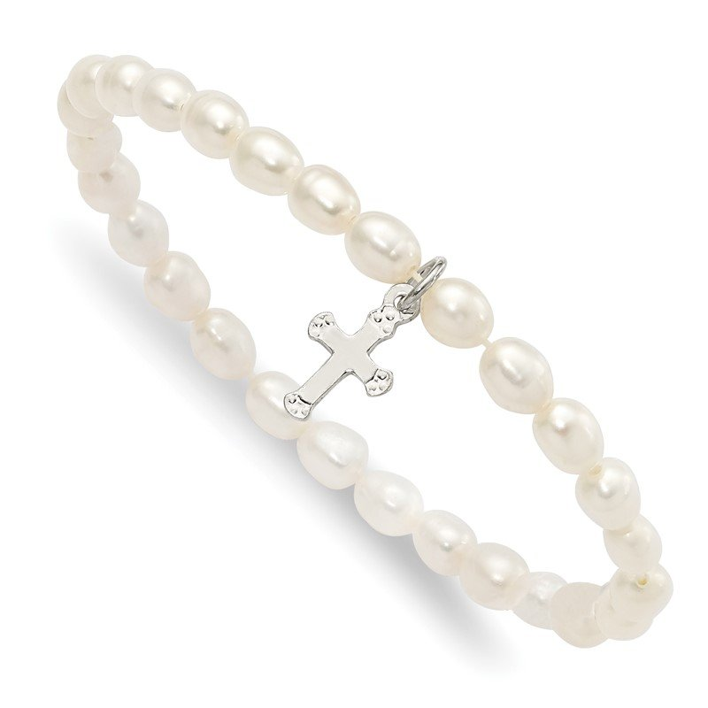 Quality Gold Sterling Silver Cross Freshwater Cultured Pearl 5 inch Stretch Bracelet