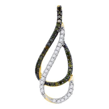 10kt Yellow Gold Womens Round Green Color Enhanced Diamond Double Teardrop Pendant 1/5 Cttw