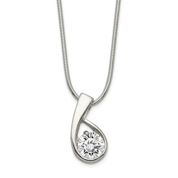 Sterling Silver CZ Pendant & Chain
