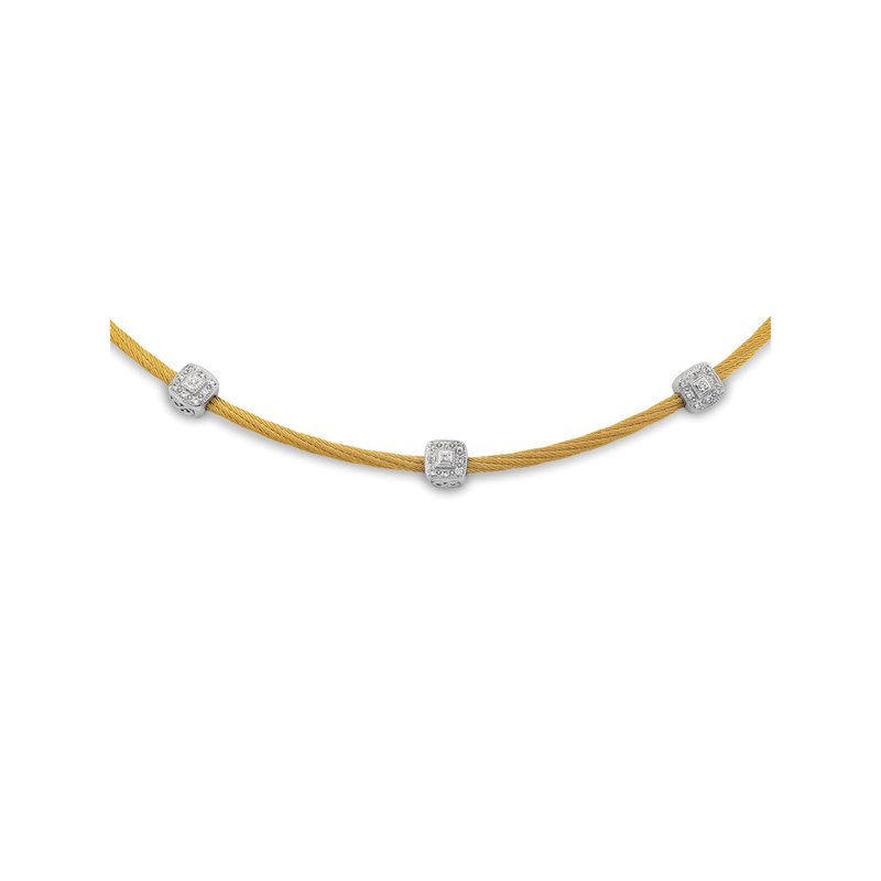 ALOR Yellow Twisted Cable Necklace with 3 Square Diamond Stations set in 18kt White Gold
