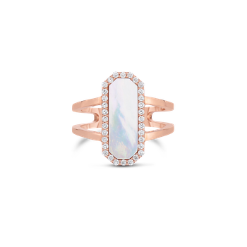 18Kt Gold Art Deco Ring With Diamonds And Mother Of Pearl