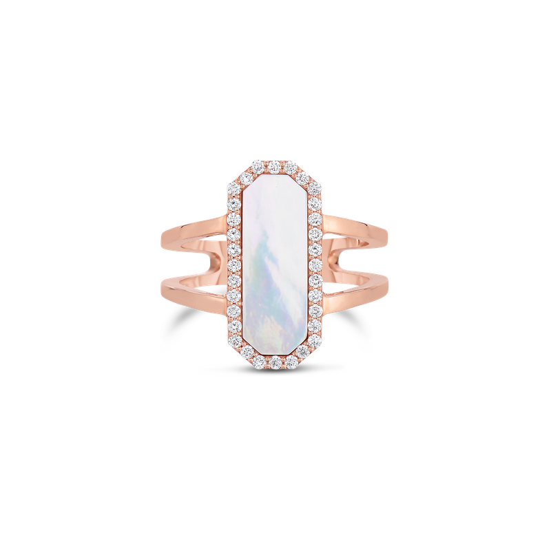 Roberto Coin 18Kt Gold Art Deco Ring With Diamonds And Mother Of Pearl
