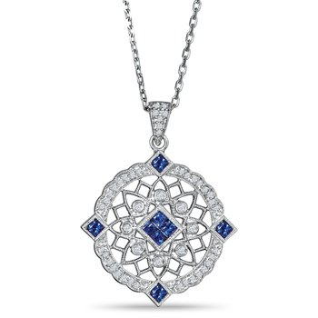 Sterling sliver pendant with diamonds (0.15ct) and sapphires (0.40ct)