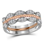 Gold-N-Diamonds, Inc. (Atlanta) 10kt Two-tone Gold Womens Round Diamond Stackable Rope Band Ring 1/5 Cttw