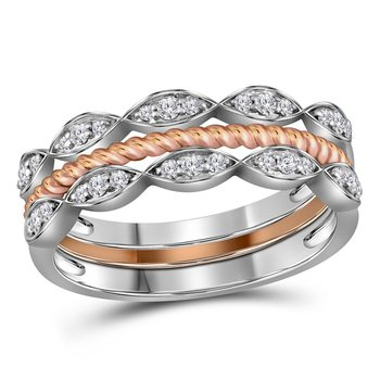 10kt Two-tone Gold Womens Round Diamond Stackable Rope Band Ring 1/5 Cttw