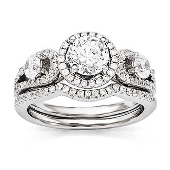 Sterling Silver Brilliant Embers Rhodium-plated CZ 2-piece Wedding Set