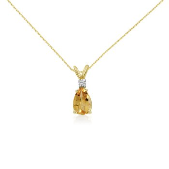 14k Yellow Gold 7X5 Citrine Pear and Diamond Pendant