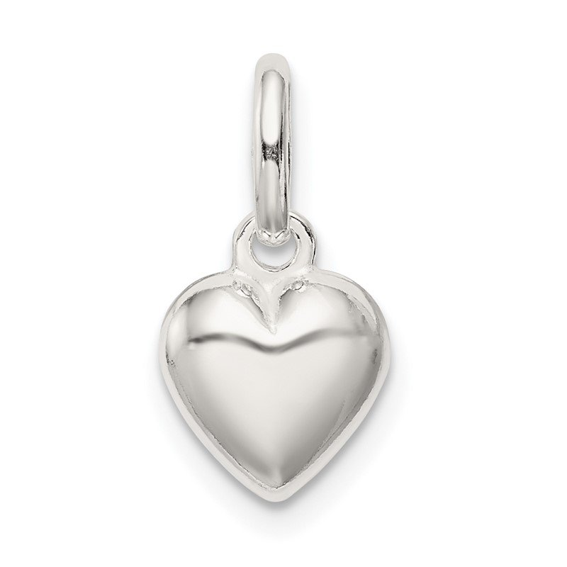 Quality Gold Sterling Silver Polished Puff Heart Charm